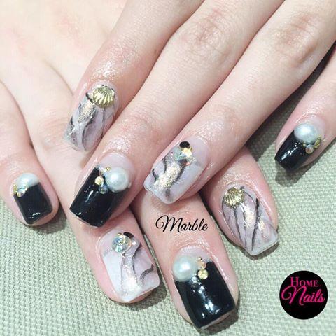 Marbling Gelish Nail Art Design Homenails